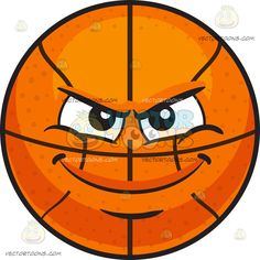 A Mischievous Basketball : An inflated orange spherical rubber ball with black ribs divided into eight segments black brows furrowed while smirking in mischief The post A Mischievous Basketball appeared first on VectorToons.com.