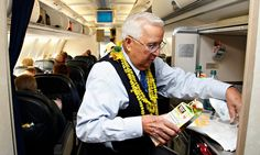 """Ron Akana """"has worked as a flight attendant for 63 years, clocking some 20 milli. Ron Akana """"has worked as a flight attendant for 63 years, clocking some 20 million miles along th All Airlines, United Airlines, Alaska Airlines, Airline Humor, Flight Attendant Humor, Pilot Training, Come Fly With Me, Airline Flights, Cabin Crew"""