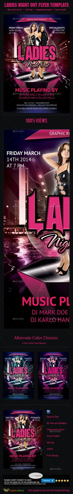 Buy Ladies Night Out Flyer Template by kreativenet on GraphicRiver. All you need to do is add your event related info. I've made this file very easy for you to edit. This file is sold e. Flyer And Poster Design, Ladies Night, Model Pictures, Clean Design, Flyer Template, Night Out, Craft Projects, Fonts, San