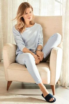 Buy Blue Stripe Jersey Pyjamas from Next Australia