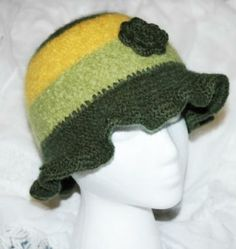 Felted Girls Floppy Hat Green and Yellow by luvncrafts for $20.00