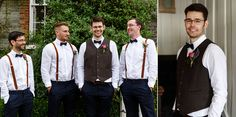 Cool groom in waistcoat, bow tie and braces