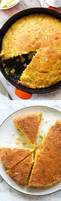 Crispy on the bottom but moist on the inside, this kicked up cornbread is our favorite | http://foodiecrush.com #cornbread #jalapeño #skillet