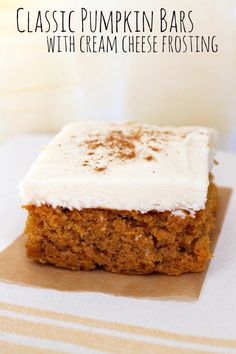 Classic Pumpkin Bars with Cream Cheese Frosting #fall #dessert #recipe