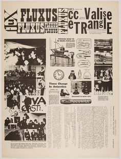 Fluxus Collective's 'Fluxus cc V TRE' from March 1964. Fluxus Newspaper No. 3. 22 1/2 x 17 1/2 in.. Edited by Fluxus Editorial Council, New York. Part of Track 16's exhibition 'Here Comes Fluxus' opening April 30, 2016.
