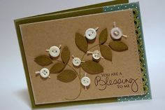 For this card project, I used the largest leaf image as a focal point image, adding buttons for a berry detail. Simple and sweet and you can easy swap out sentiments to use this card for so many occasions. The sentiment I used on this card is from Dawn McVey's new Signature Greetings set.     For a bit of extra detail, I trimmed out the individual leaves and popped them up a bit from the card base.     Building backgrounds is a natural use for this set. I randomly stamped the 2 leaf images…