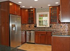 kitchen remodel ideas and small kitchen remodel ideas... like how cabinets go all way up to ceiling