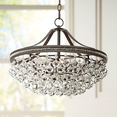 "Wohlfurst 20 1/4""W Bronze 5-Light Crystal Pendant Light - #1K583 | Lamps Plus"