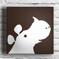 This sale is for one custom made original silhouette painting of a rhino. The digital imagine shown can be painted with two colors of your choice.