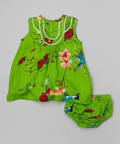 Love this Green & Red Butterfly Dress & Diaper Cover - Infant by Yo Baby on #zulily! #zulilyfinds