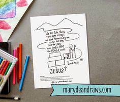 FREE Easter Scripture Printable Coloring Activity Page for kids : Marydean Draws. Bible Crafts For Kids, Preschool Bible, Bible Activities, Color Activities, Kids Bible, Easter Coloring Pages, Coloring Pages For Kids, Kids Colouring, Coloring Sheets
