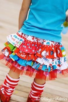 Dr Seuss Cat In The Hat Ruffle Skirt Sewing Kit by AllegroFabrics, girls, easy, twirl, birthday, sew, pattern