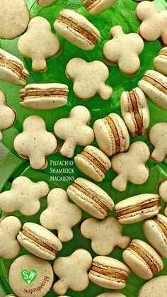 SugaryWinzy Pistachio Shamrock Macarons with Pistachio Filling