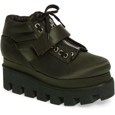 Jeffrey Campbell Extrema Platform Sneaker (Women) ($60) ❤ liked on Polyvore featuring shoes, sneakers, olive satn, zipper shoes, platform trainers, olive green sneakers, adjustable shoes and zip shoes