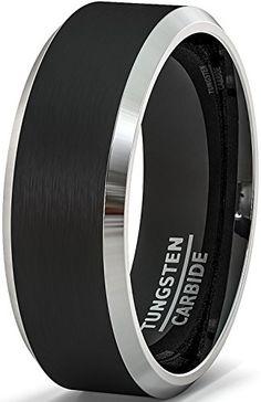 Mens Wedding Band 8mm Black Tungsten Rings Brushed Matte ...
