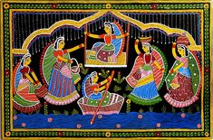 Girls in a Playful Mood - Wall Hanging (Tikuli Painting on Hardboard)