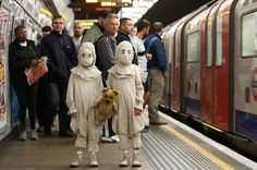 Creepy twins spooking London commuters