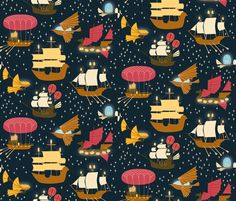 Inspired by early flying machines, 16th century galleons, and two ancient space ships from favourite cult tv series episodes (if you can guess them!) this design is a sky full of ships illuminating their way across the universe.