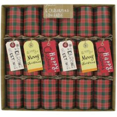 30cm tartan tag crackers - box of 6 from Paperchase