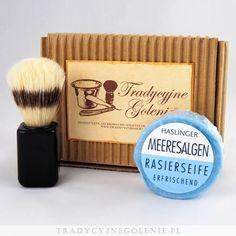 Zestaw  pędzel szczecina dzika, czarna rączka + Haslinger, Orzeźwiające mydło do golenia 60g z wodorostów. Zestaw opakowany w firmowe pudełko RETRO.