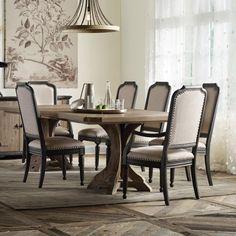 Hooker Furniture Corsica 7-Piece Pedestal Dining Set in Natural Finish