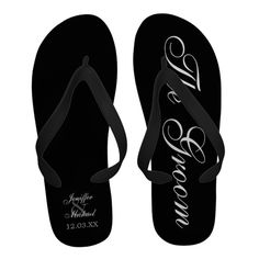 f9aff5640867c3 Beach Wedding Groom Personalized Flip-Flops Personalized Flip Flops