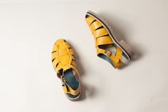 yellow woven sandals