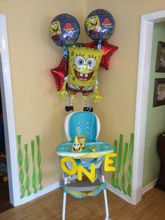 SpongeBob party balloons  1st birthday party