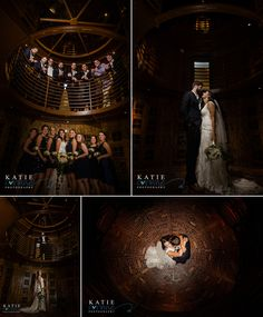 Awesome photos in the wine cellar with bride and groom and bridal party at Wedding at the Flying Horse Club Photography by Katie Corinne Photography A fun Fall wedding at the Flying Horse Club in Colorado Springs, Colorado. I had so much fun celebrating with this fun loving couple!