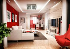Living Room : Red Chair White Sofa Recessed Lights Atractive Red And White Living Room Design White Wall Yellow Ottoman Turquoise Bedroom Chair Tall Accent Table Cheap Lounge Furniture Throw Rugs Atractive Red and White Living Room Interior Design Room Interior Design, Apartment Interior, Home Interior, Living Room Interior, Apartment Living, Studio Apartment, Interior Paint, Modern Interior, Luxury Interior