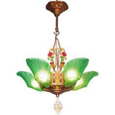 Conneaut slip shade chandelier il570xn3737292925ie0g slip genuine transitional art deco art nouveau period green frosted glass 5 light slip shade chandelier by markel c1920 aloadofball Gallery