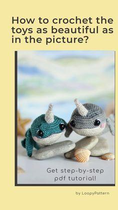 PATTERN crochet NARWHAL amigurumi pdf tutorial how crochet whale stuffed toy amigurumi whale pdf crochet narwhal toy tutorial pattern by LoopyPattern sea