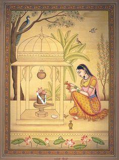 Ragini Bhairavi, Hindu Miniature Painting on PaperArtist Kailash Raj Rajasthani Miniature Paintings, Rajasthani Painting, Pichwai Paintings, Indian Art Paintings, Mughal Paintings, Indian Artwork, Indian Folk Art, Madhubani Art, Madhubani Painting