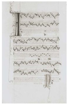 Medieval Notation. It's been attempted to educe sound from medieval notation that resembled graphs of time versus frequency more closely than modern staff notation by educed this piece of music from medieval polyphonic notation found in a French manuscript dating to the middle of the 13th century.