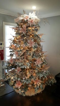 white christmas tree blush pink gold champagne and touch of black