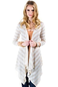 $16 at www.heavenlycouture.com Striped Cardigan Wrap in Oatmeal