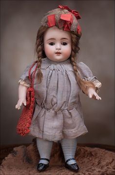 """10"""" (25 cm) All Busque Large KESTNER Doll c.1910  ~~  She looks cute & pudgy!!  :o)"""