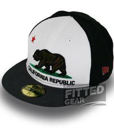 2e5244fcd11 California REPUBLIC 2 Two Tone White Grey Cali Bear New Era 5950 Fitted  Hats Cap
