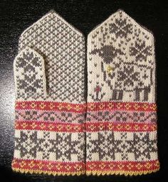 Ravelry: Selbu-Baaa-Ter pattern by Mary Scott Huff Mittens Pattern, Knit Mittens, Knitted Gloves, Knitting Socks, Hand Knitting, Wrist Warmers, Hand Warmers, Knitting Charts, Knitting Patterns