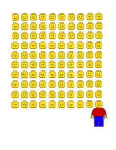 100 Days Lego Shirt! 100 heads for 100 days! Free printable JPG...print it on an iron on transfer and iron to a tee for your student's party!  www.momgarita.com