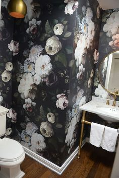 Guest Bath - Ellie Ashman Wallpaper. It's bold (!) and feminine, but would look AMAZING next to that antique vanity.