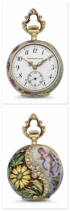TIFFANY & CO. A FINE 18K GOLD, ENAMEL AND DIAMOND-SET OPENFACE KEYLESS LEVER PENDANT WATCH -  SIGNED TIFFANY & CO., MOVEMENT NO. 110'866, CIRCA 1910.