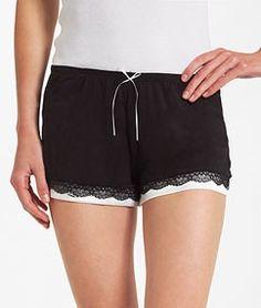 Jersey and lace pyjama short PARADISE BLACK