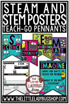 You will love these STEAM & STEM Posters & Writing Classroom Decor! This is the perfect display for your STEM classroom. Decorative Posters for your STEM area and STEM Writing TEACH-GO Pennant™ for display. #stemposters #steamposters #stem #stemresources