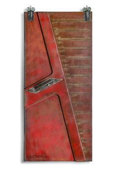 Red Modern Steel Barn Door with Handle by ArtcraftDoors on Etsy https://www.etsy.com/listing/276241574/red-modern-steel-barn-door-with-handle