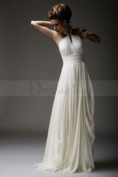 Elegant Halter Strap Ethereal Chiffon Column Dress with Delicate Ruche Detail