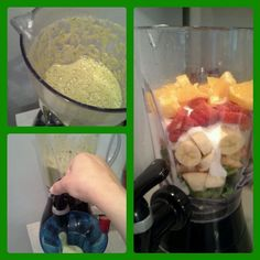 Green smoothies are healthy and delicious. They help you lose weight fast and give you lots of energy! Here's the recipe I use: 1 handful of baby spinach,  1apple, 1 cup yogurt, 1/2 an orange, 5 strawberries, and 1 banana. If u use a blender, I suggest that you don't put the spinach in first. Blend well and enjoy! :)