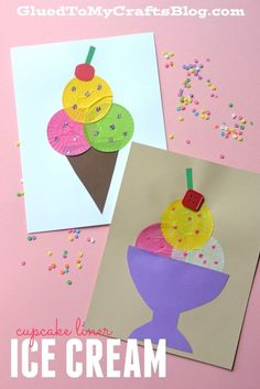 Cupcake Liner Ice Cream - Kid Craft Yah also frame it with LOVE to ones GrandGirls :) Summer Crafts For Kids, Spring Crafts, Art For Kids, Summer Crafts For Preschoolers, Summer Diy, Preschool Crafts, Kids Crafts, Craft Projects, Beach Crafts