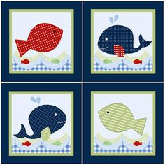 Set of 4 Jackson/Whale/Ocean Life 65 x 65 by PersonalizedbyDiane, $39.99