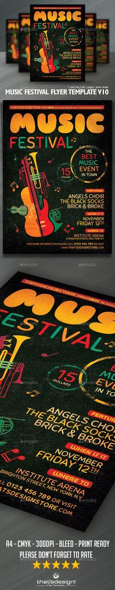 Music Festival Flyer Template #design Download: http://graphicriver.net/item/music-festival-flyer-template-v10/12479217?ref=ksioks